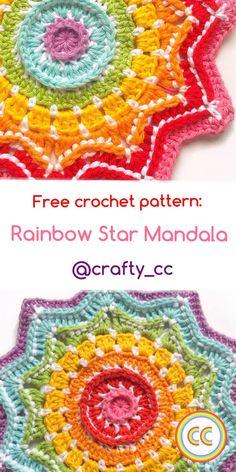 Free crochet pattern: Rainbow Star Mandala Free crochet Mandala pattern by crafty cc Crochet Mandala Pattern, Crochet Square Patterns, Crochet Squares, Crochet Designs, Knitting Designs, Knitting Patterns, Crochet Winter, Crochet Home, Free Crochet