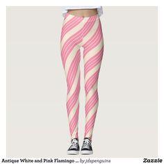 ea4609566b57b Antique White and Pink Flamingo Stripes Leggings : Beautiful #Yoga Pants -  #Exercise Leggings