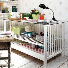 repurposed crib~ made into shelving/desk