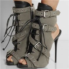 Cheap botas mujer, Buy Quality women ankle boots directly from China ankle boots Suppliers: New Army Green Buckle Strap Women Ankle Boots Open Toe Zipper Thin High Heels Botines Sexy Women Shoes Spring Autumn Botas Mujer Hot Shoes, Crazy Shoes, Women's Shoes, Me Too Shoes, Edgy Shoes, Dress Shoes, Shoes Style, Shoes Sneakers, Designer Shoes