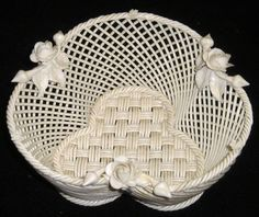 IRISH BELLEEK 3rd BLK PERIOD SHAMROCK BASKET | eBay