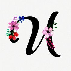 Letra U Fundo floral aquarela Stylish Letters, Alphabet Images, Islamic Posters, Background Design Vector, Cute Couple Art, Diy Letters, Calligraphy Letters, Black Letter, Hand Embroidery Designs