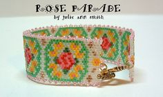Julie Ann Smith Designs ROSE PARADE Beadwoven Peyote Stitched Bracelet