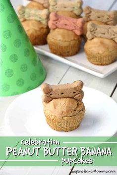 Celebration Peanut Butter Banana Cupcakes Celebration Peanut Butter Banana Pupcakes are the perfect way to show your four-legged friend just how special they are. Filled with dog-safe ingredients, they are a delicious sweet treat! Cupcakes For Dogs Recipe, Dog Safe Cake Recipe, Puppy Cupcakes, Dog Cake Recipes, Puppy Cake, Dog Treat Recipes, Dog Food Recipes, Birthday Cake Cookies, Birthday Cakes For Men