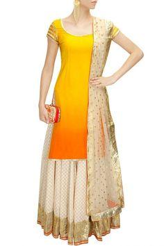 Yellow short kurta & off white garara