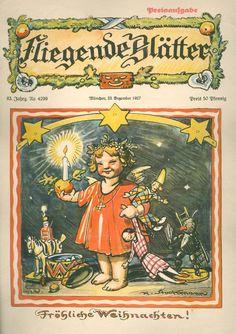 A small German Krampus doll  Fröhliche Weihnachten! Happy Christmas Eve  'Fliegende Blätter' cover by H. Stockmann, 1927