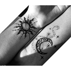 Sun and moon sister henna tattoos