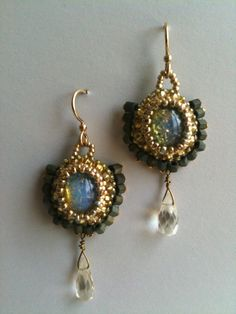 """""""Opal"""" and Citrine fan earrings by Jeka Lambert.  Bead embroidery.  Vintage glass """"opal"""" cabochons, citrine drop beads, seed beads."""