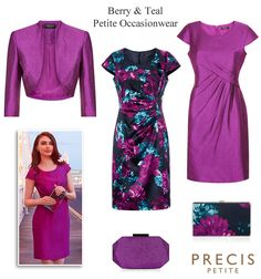 Precis petite occasion wear in berry pink and teal blue green floral print. Shimmer dress and matching bolero and clutch bag petite Mother of the Bride winter wedding outfits