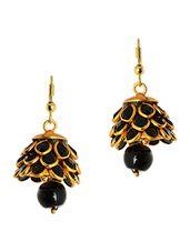 gold, black brass jhumka earring - Online Shopping for earrings