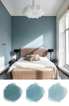 50 Soft Bedroom Designs with Pastel and White - decoratoo blue gray, pastel blue wall, bedroom paint color inspiration, velvet pink headboard Pastel Bedroom, Blue Bedroom Walls, Bedroom Wall Colors, Bedroom Color Schemes, Home Decor Bedroom, Modern Bedroom, Blue Bedrooms, Bedroom Ideas, Contemporary Bedroom