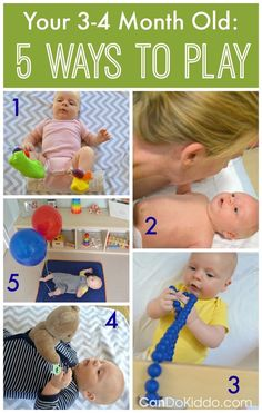 Tips and tricks for playing with a 3 or 4 month old baby from a pediatric Occupational Therapist and mommy. Includes explanations of how play helps your child reach important baby milestones! CanDo Kiddo