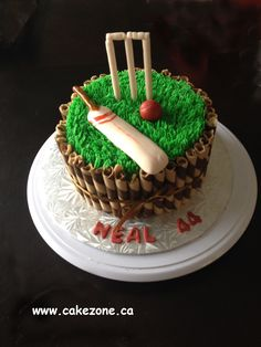 cricket cake (With images) Cricket Birthday Cake, Cricket Theme Cake, Dad Birthday Cakes, 40 Birthday, 50th Cake, Specialty Cakes, Cakes For Boys, Buttercream Cake, Creative Cakes