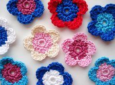 Crochet Flower Appliques Multi Colored Color Mix