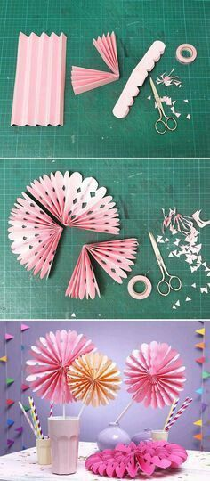 Las flores de acordeón o rosetones de papel pueden usarse prácticamente para decorar cualquier clase de fiesta. Son muy fáciles, económicos...