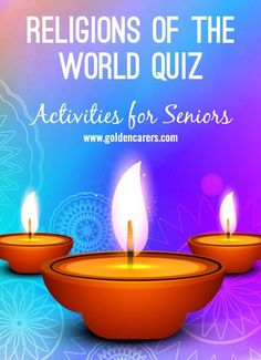 # All Saints Day # Religion Quiz: We usually know a lot about our own religion but how about other denominations? A fun and interesting quiz for seniors that will lead to discussion and reminiscing. Nursing Home Activities, Exercise Activities, Elderly Activities, Senior Activities, Free Activities, Montessori Activities, Spring Activities, World Quiz, Enrichment Programs