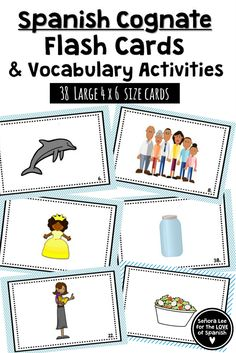 Build vocabulary quickly and practice definite and indefinite articles with Spanish Cognate Flash Cards! Includes 38 large flash cards with pictures. No translations needed. Flash cards are one of the best ways to learn vocabulary quickly! Spanish Cognates, Spanish Flashcards, Spanish Vocabulary, Spanish Word Wall, Spanish 1, How To Speak Spanish, Spanish Teaching Resources, Spanish Activities, Vocabulary Activities