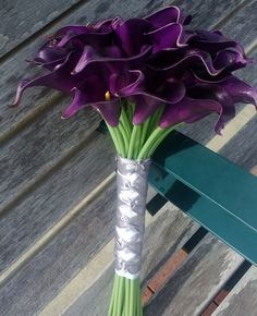 Eggplant Calla Lily Bridal Bouquet, Real Touch Calla Lily Bouquet Purple Bouquet…