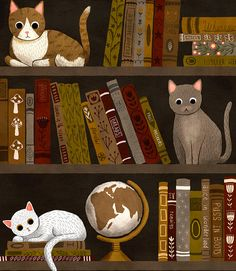 bookshelf cat print by annyamarttinen on Etsy