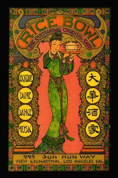 Posters inspired by vintage menus - Rice Bowl Los Angeles Los Angeles Food, Los Angeles Restaurants, Asian Restaurants, Vintage Menu, Vintage Cafe, Vintage Posters, Vintage Food, Vintage Graphic, Chinese Takeaway Menu