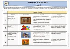 Ateliers autonomes de type Montessori - Période 2 en MS