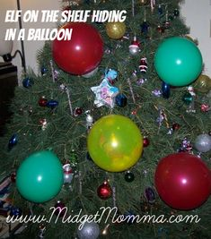 Elf on the shelf hides in a balloon