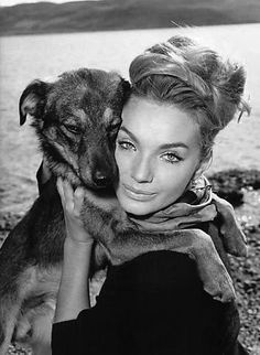 Maria Perschy and dog... Picture posing with puppy