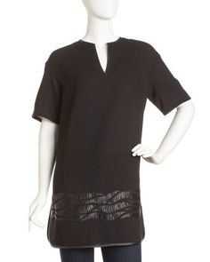 Mairana Faux Leather-Detail Tunic by Lafayette 148 New York at Last Call by Neiman Marcus.