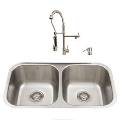 VIGO 32.25-in x 18.5-in Stainless Steel Double-Basin Undermount 1-Hole Commercial/Residential Kitchen Sink All-In-One Kit