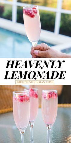 Heavenly lemonade cocktails are like mimosas, but better! Try this cocktail recipe for brunch. Easy Drink Recipes, Drinks Alcohol Recipes, Punch Recipes, Non Alcoholic Drinks, Beverages, Pink Mimosa Recipe, Virgin Mimosa Recipe, Virgin Cocktails, Virgin Mojito