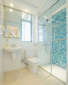 With and blue bathroom