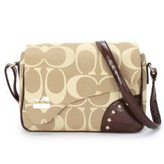 coachoutlets py0u  Coach Stud In Signature Medium Khaki Crossbody Bags AYW Give You The Best  feeling!