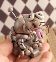 Mom and Baby Grungy Bot - Mini Robot Sculpture - Geeky ...