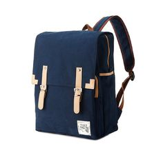 Simple cotton Square Backpack Navy by BagDoRi on Etsy, $79.50