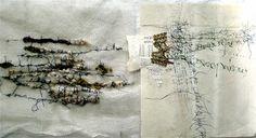 Recherches sur la ligne et la page utilisant textile et papier (soie, laine, crin, fil...) by Stephanie Devaux