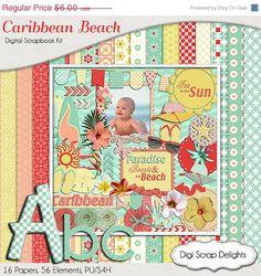 40 Off SALE Caribbean Beach Digital Scrapbook by DigiScrapDelights
