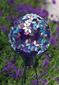 Flower petal mosiac gazing ball, purple glass garden globe | BONANZA