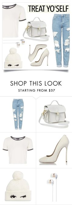 """""""T r e a t  Y o ' S e l f !"""" by leilani25 ❤ liked on Polyvore featuring Topshop, The Cambridge Satchel Company, Dsquared2, Kate Spade and Happy Plugs"""