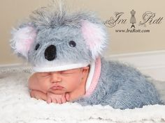 Koala Bear Fuzzy Hat and Cocoon Set for Newborn Babies - READY to Ship