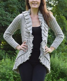 5c366f0f85 Another great find on  zulily! Oat Cable-Knit Wool-Blend Open Cardigan
