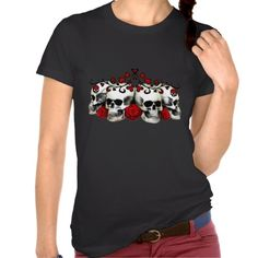 Skulls, Hearts And Roses Tee Shirt by malibuitalian Halloween Gifts, Halloween Themes, Cool T Shirts, Tee Shirts, Tees, Hearts And Roses, Spooky Scary, Mens Tops, Creepers
