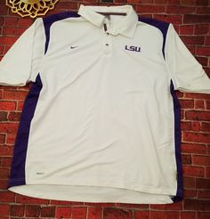 Nike Dri-Fit LSU Tiger Football Polo Shirt Men XL White | Sports Mem, Cards & Fan Shop, Fan Apparel & Souvenirs, College-NCAA | eBay!