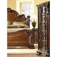 A.R.T. Furniture Old World Eastern King Estate Bed in Brown, Traditional Tuscan Decorating, Old World Decorating, Interior Decorating, Decorating Ideas, Tuscan Design, Mediterranean Home Decor, Traditional Bedroom, Traditional Design, Headboard And Footboard