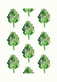 Artichokes - Art Print  limited edition, moss green, kitchen wall decor, cottage chic. $21.00, via Etsy.