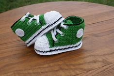 Green with Black Trim Crochet Baby Converse by KatiDCreations, $33.00