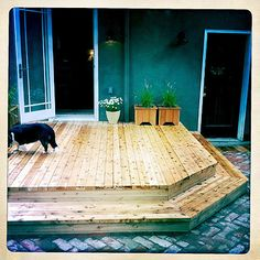 So far, if we choose to go with a deck, this is my favorite design, right down to the mitered corner. #deck #wood