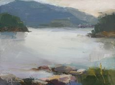 Christine Lafuente, Somes Sound, Overcast Evening, oil on mounted linen, 9 x 12 inches - Somerville Manning Gallery Paintings I Love, Seascape Paintings, Landscape Paintings, Canvas Paintings, Beach Watercolor, Mountain Paintings, Sea Art, Plein Air, Abstract Landscape
