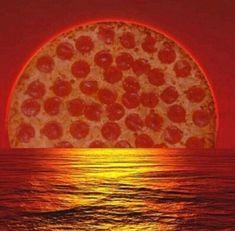 sunset like a pizza