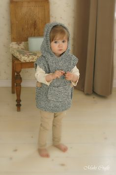 KNITTING PATTERN chunky hooded poncho Phoebe (toddler child adult woman sizes) (5.00 USD) by MukiCrafts