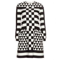Valentino Printed Wool and Silk-Blend Dress